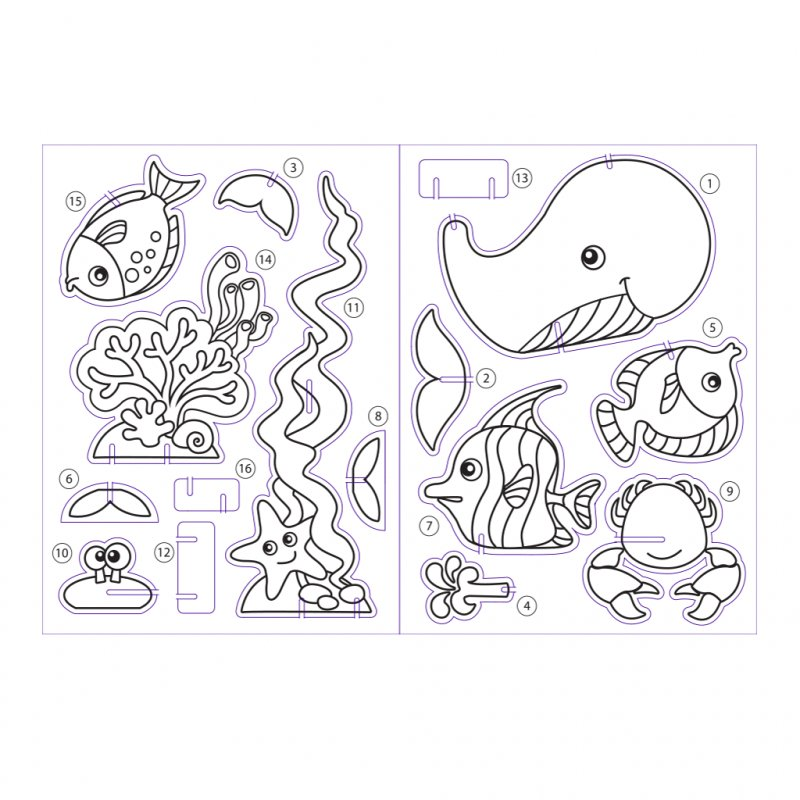 Набор для раскраш. 3D пазл ArtBerry Sea World фигурки+краски 6цв