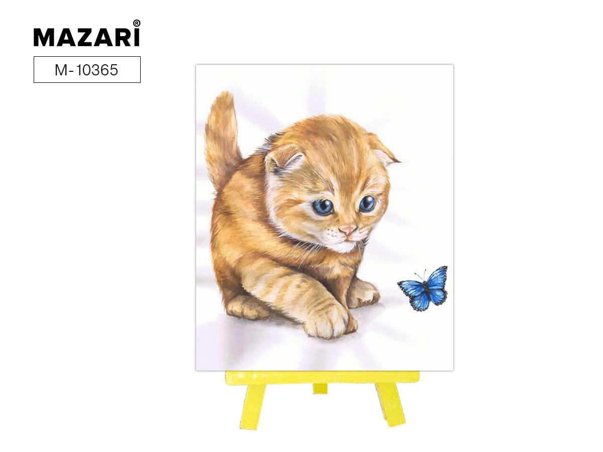 Алмазная мозаика+мольберт 21*25см Кот и бабочка