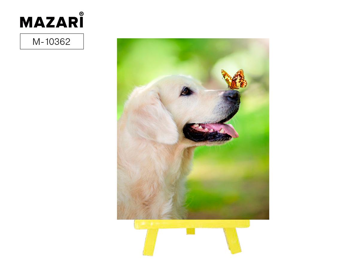 Алмазная мозаика+мольберт 21*25см Собака с бабочкой