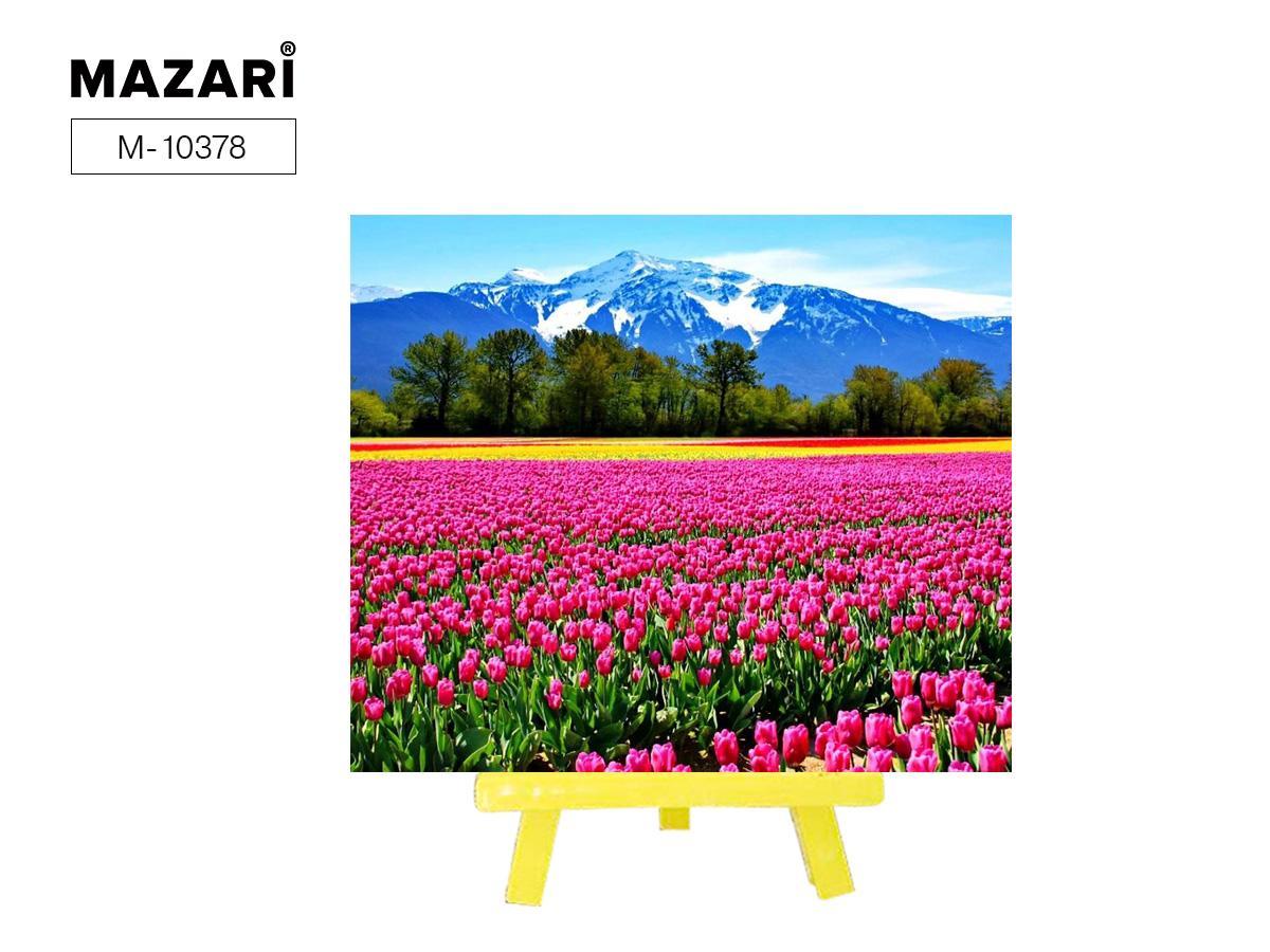"""Алмазная мозаика+мольберт 21*25см """"Тюльпаны в горах"""" частичная выкладка"""