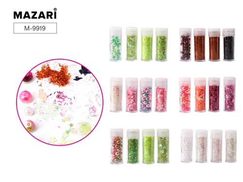 Набор блестки+пайетки+бусины Mazari Color 4 вида в упак.