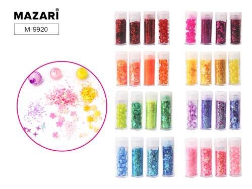Набор блестки+пайетки+бусины Mazari Form mix 4 вида в упак.