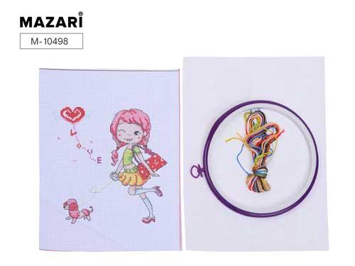 Набор д/вышивания крестиком Mazari 20,5*26см с пяльцами ассорти