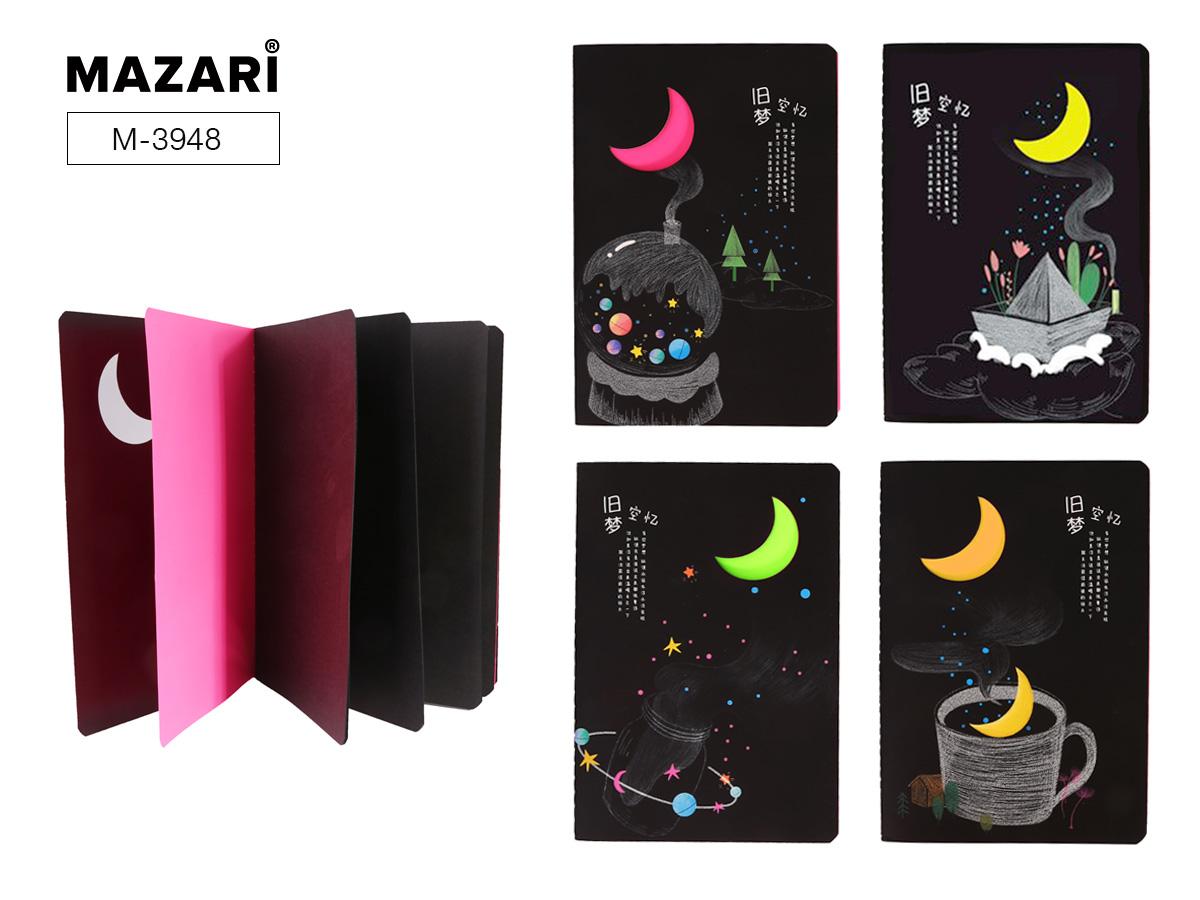 Блокнот 20л Mazari 14,3*21см Moonlight черный блок