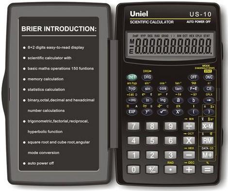 Калькулятор инжен. Uniel US-10  8+2-разр. 120*72мм