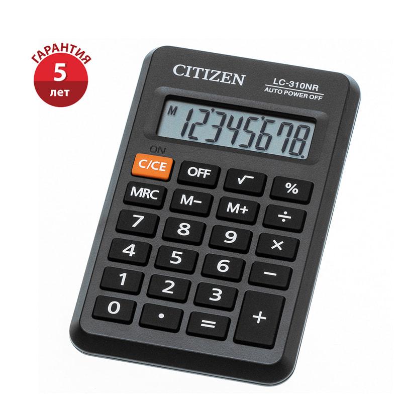 Калькулятор карм. CITIZEN  8 разр. батарейка 69*114мм черный