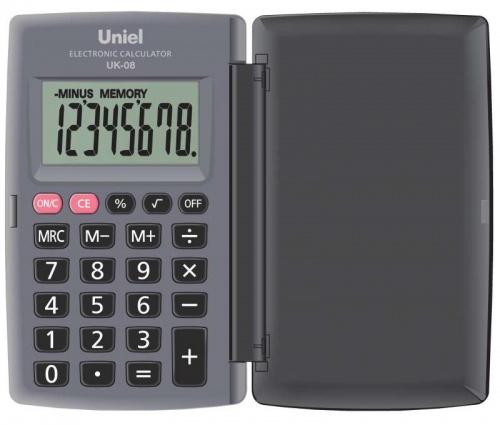Калькулятор карм. Uniel UK-08H  8-разр. 104*62,8мм серый