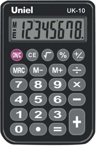 Калькулятор карм. Uniel UK-10K  8-разр.  94*62мм черн.