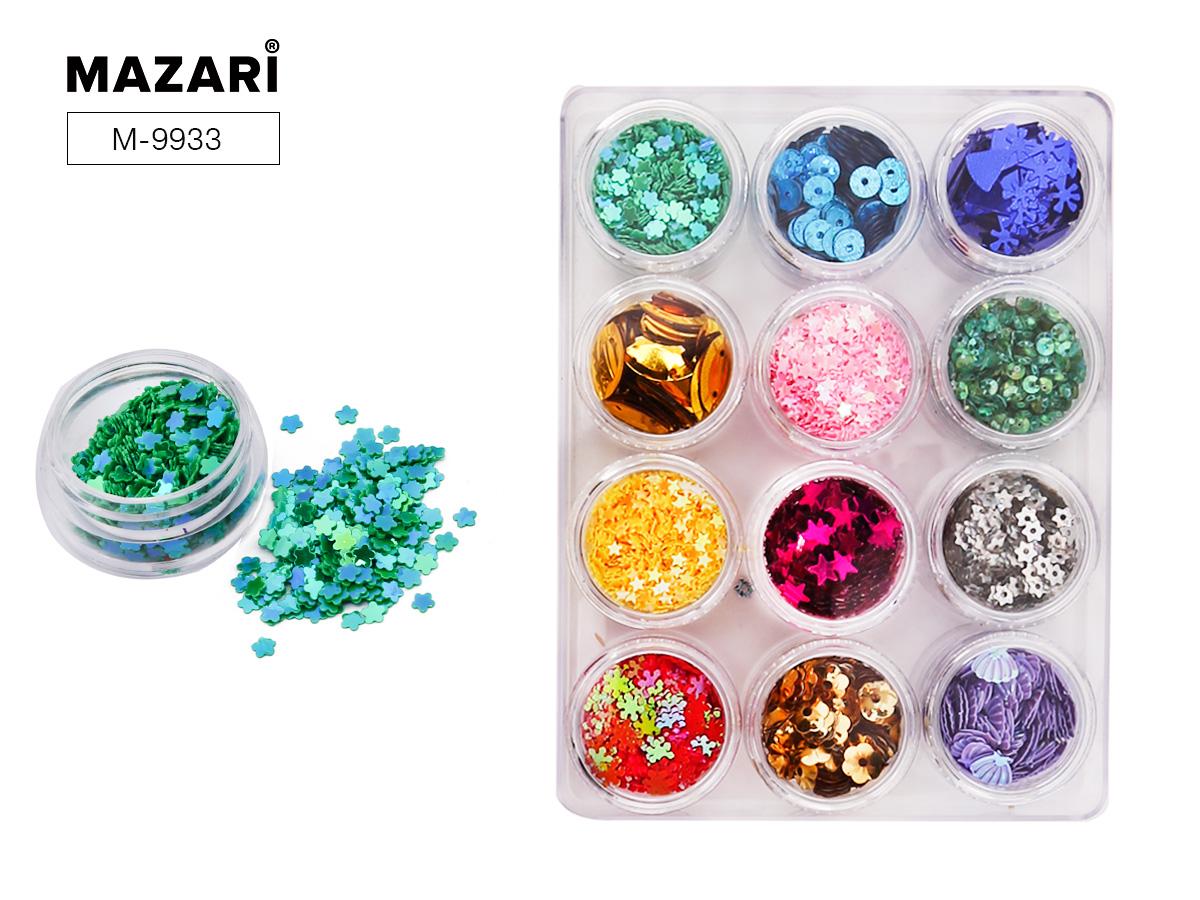 Набор блестки Mazari пайетки+конфети 12 видов в пласт. упак.