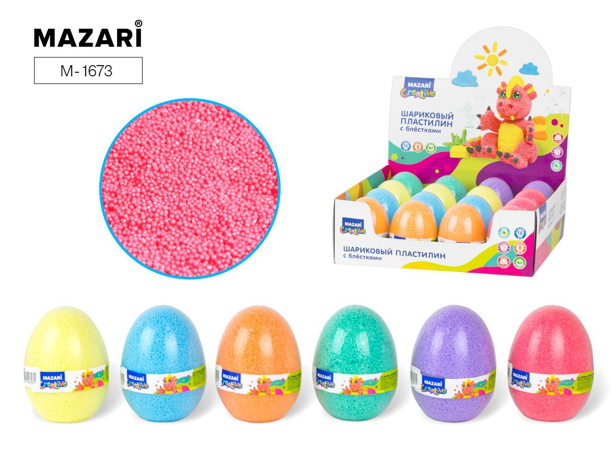 Пластилин шариковый Mazari мелкозернистый с блестк. в яйце