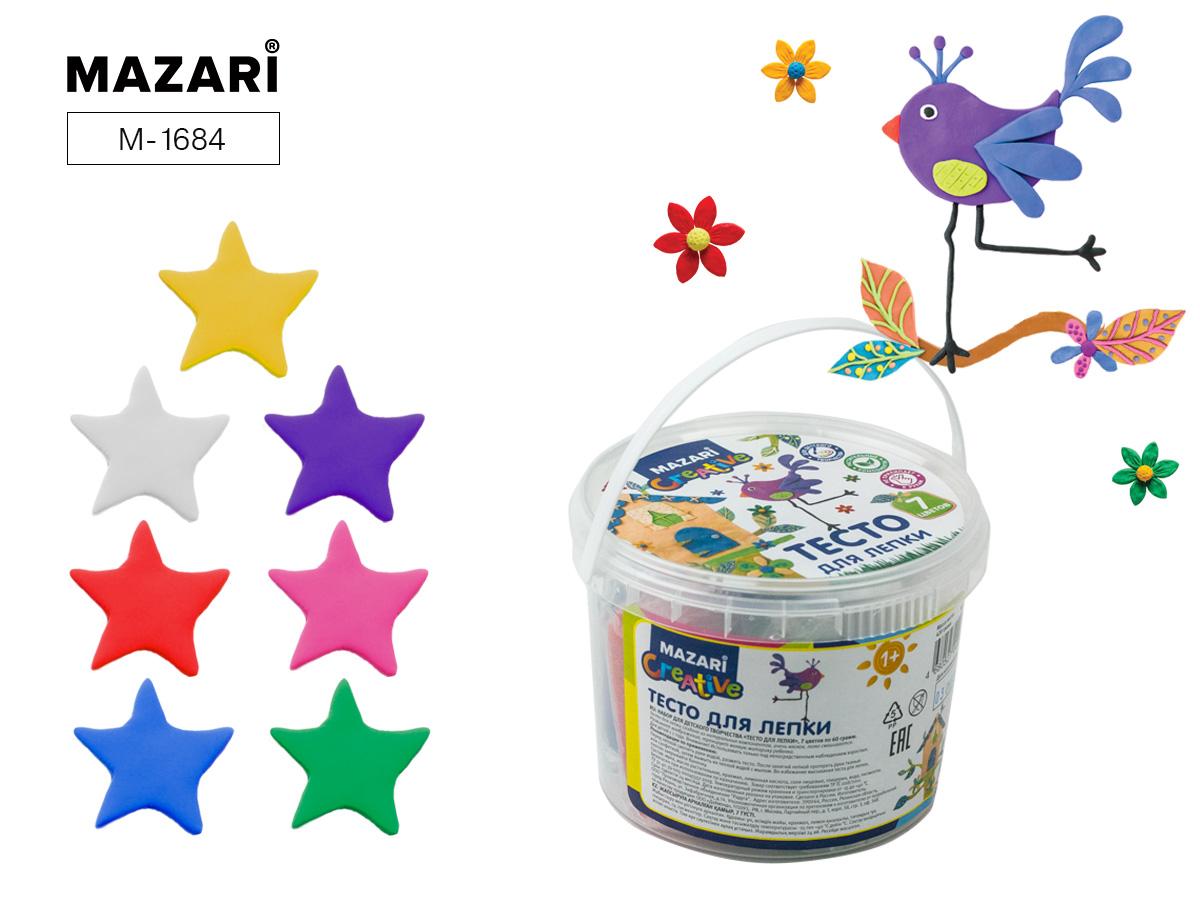 Тесто для лепки Mazari 7цв. 420г пластиковое ведро