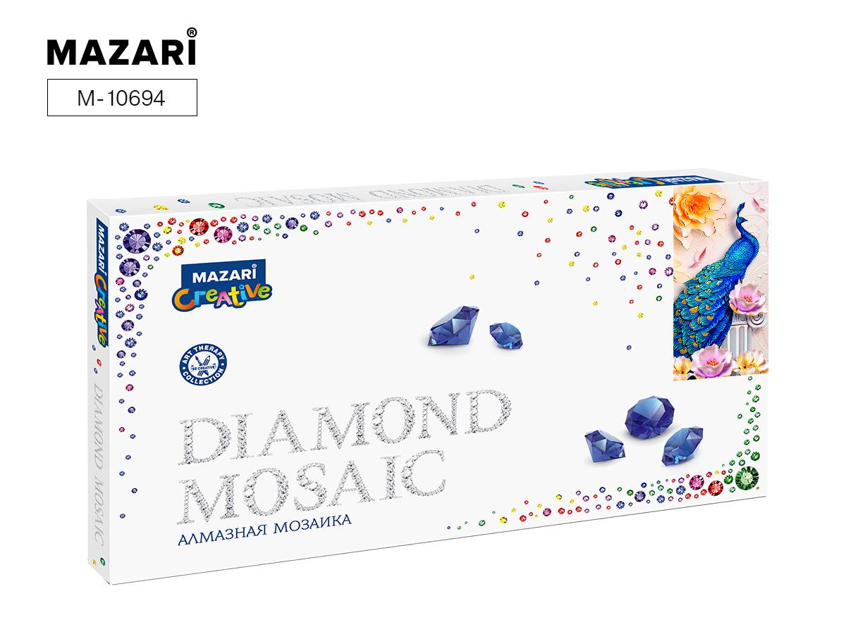 Алмазная мозаика 22*40см Бирюзовый павлин частичная выкладка
