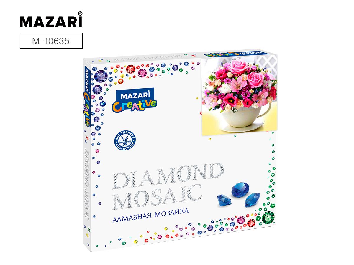 Алмазная мозаика 30*30см Букет в чашке частичная выкладка