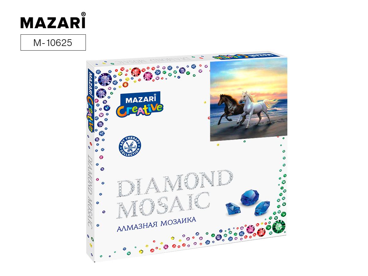 Алмазная мозаика 30*30см Лошади на берегу моря
