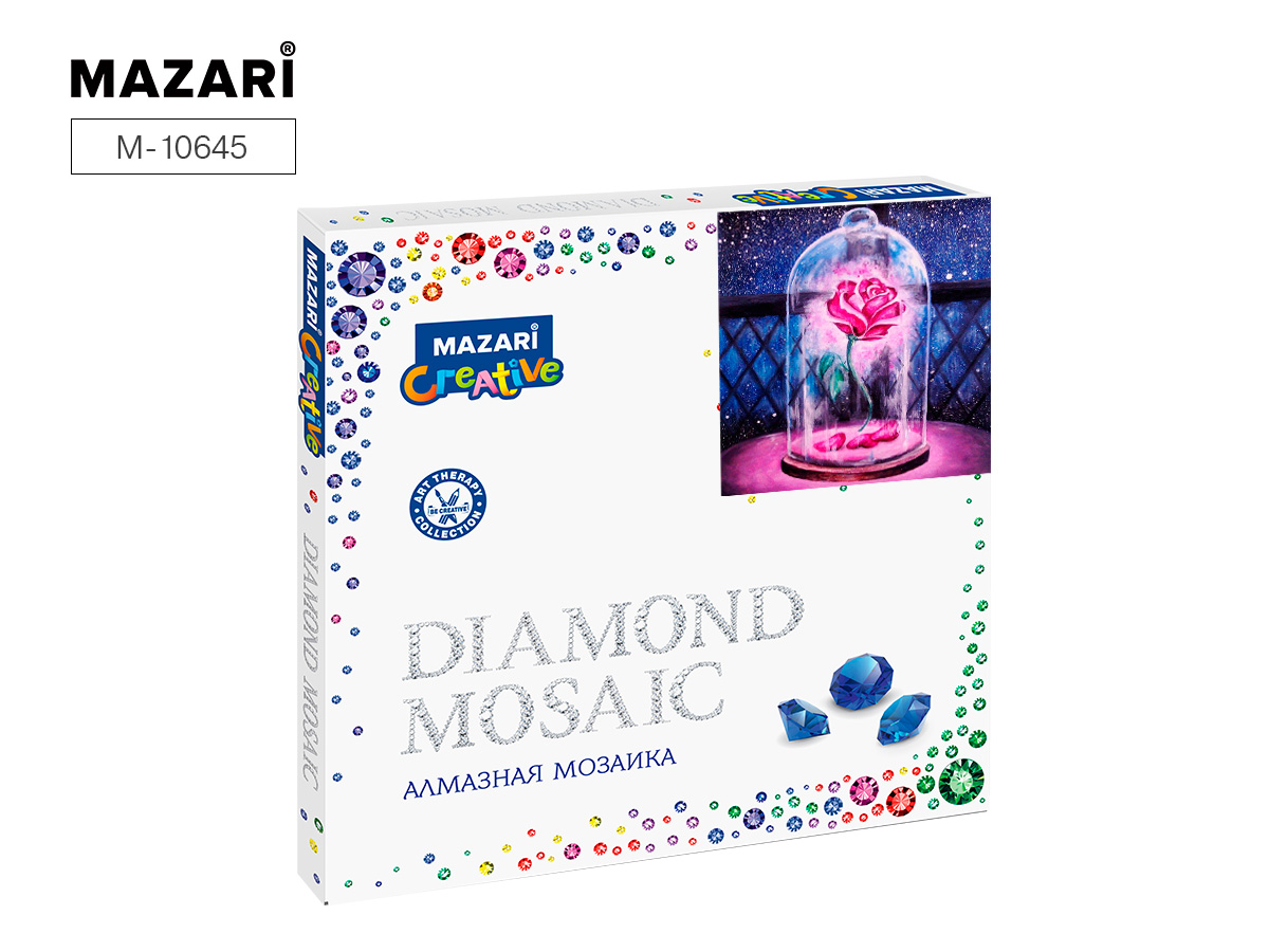 Алмазная мозаика 30*30см Роза в стекле