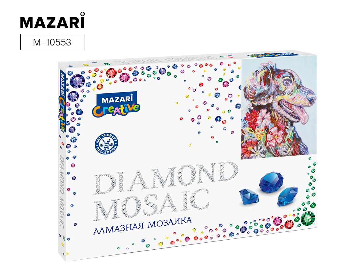 Алмазная мозаика частичная выкладка 30*40см Разноцветный пес
