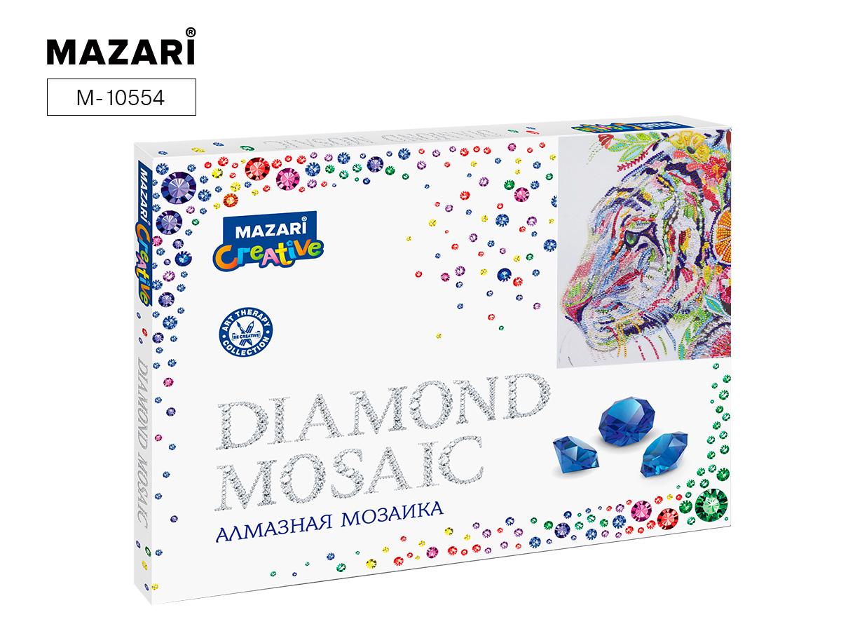 Алмазная мозаика 30*40см Разноцветный тигр