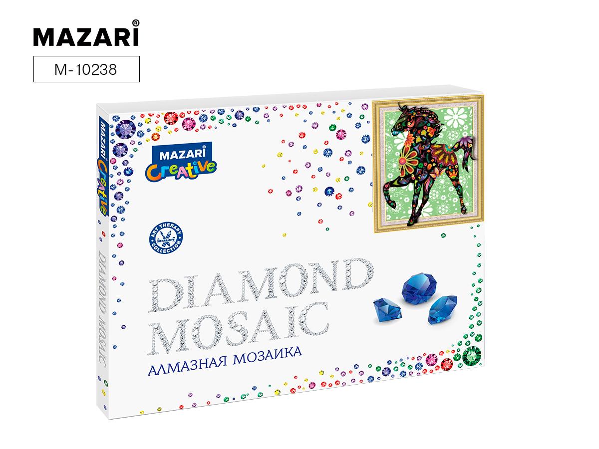 Алмазная мозаика частичная выкладка 40*50см Цветной конь
