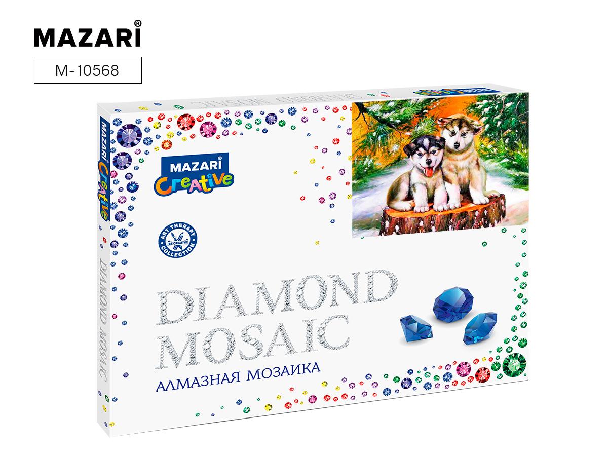Алмазная мозаика рамка 30*40см Два щенка на пеньке