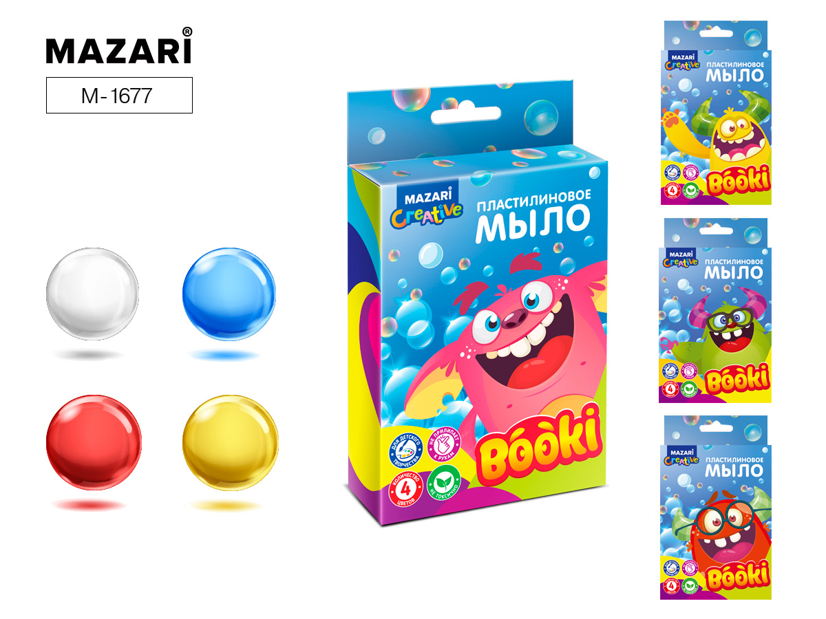 Набор д/творч. пластилиновое мыло Mazari 4цв