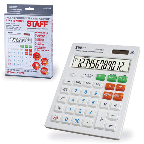 Калькулятор наст. Staff STF-555White дв.пит. 205*154мм