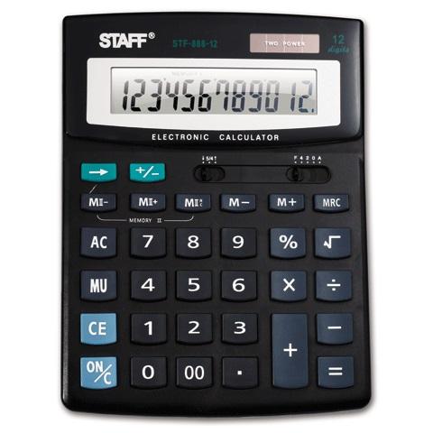 Калькулятор наст. Staff STF-888-12 дв.пит. 200*150мм