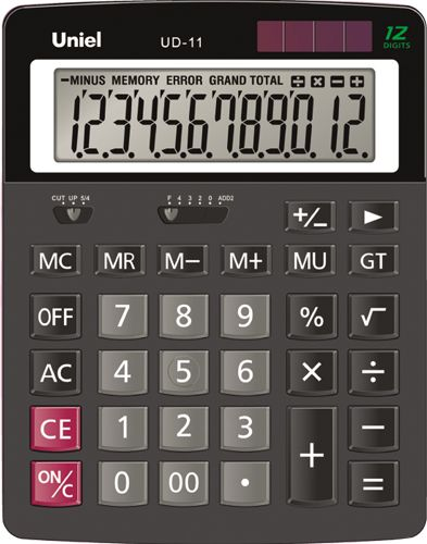 Калькулятор наст. Uniel UD-11 12-разр. 163*125мм