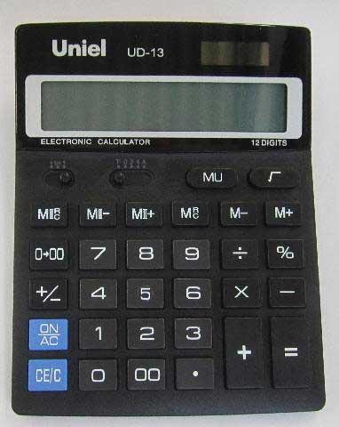 Калькулятор наст. Uniel UD-13 12-разр. 178*140мм