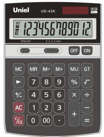 Калькулятор наст. Uniel UD-43K 12-разр. 177*130мм черн.
