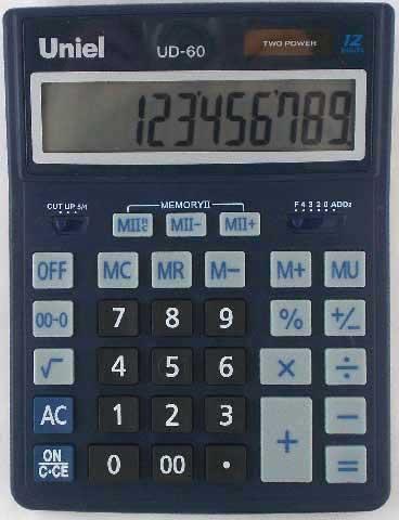 Калькулятор наст. Uniel UD-60B 12-разр. 206*155мм синий