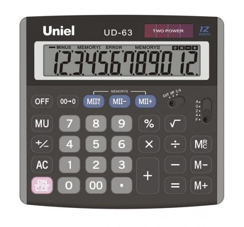 Калькулятор наст. Uniel UD-63 12-разр. 145*139мм