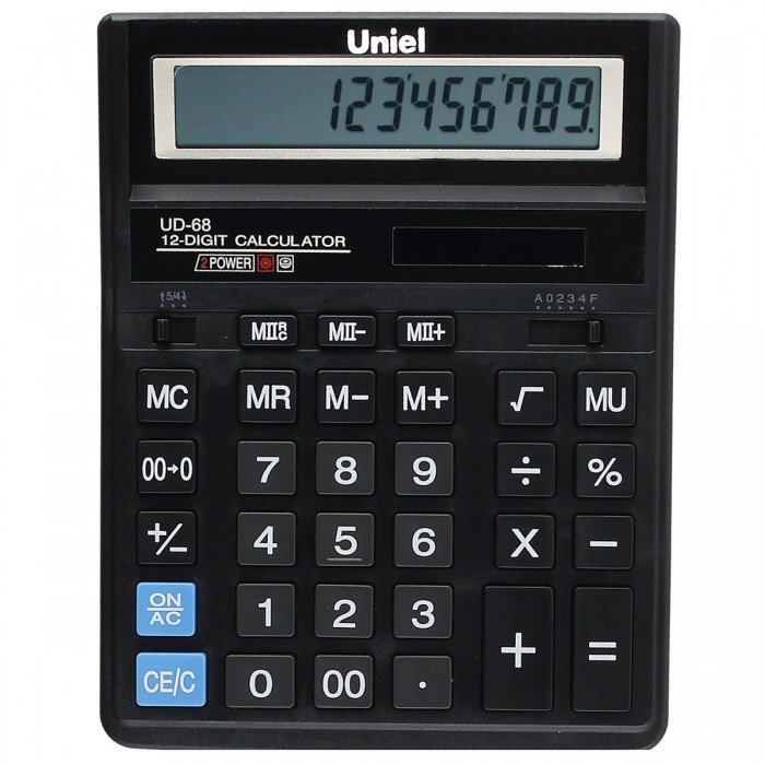 Калькулятор наст. Uniel UD-68 12-разр. 203*158мм