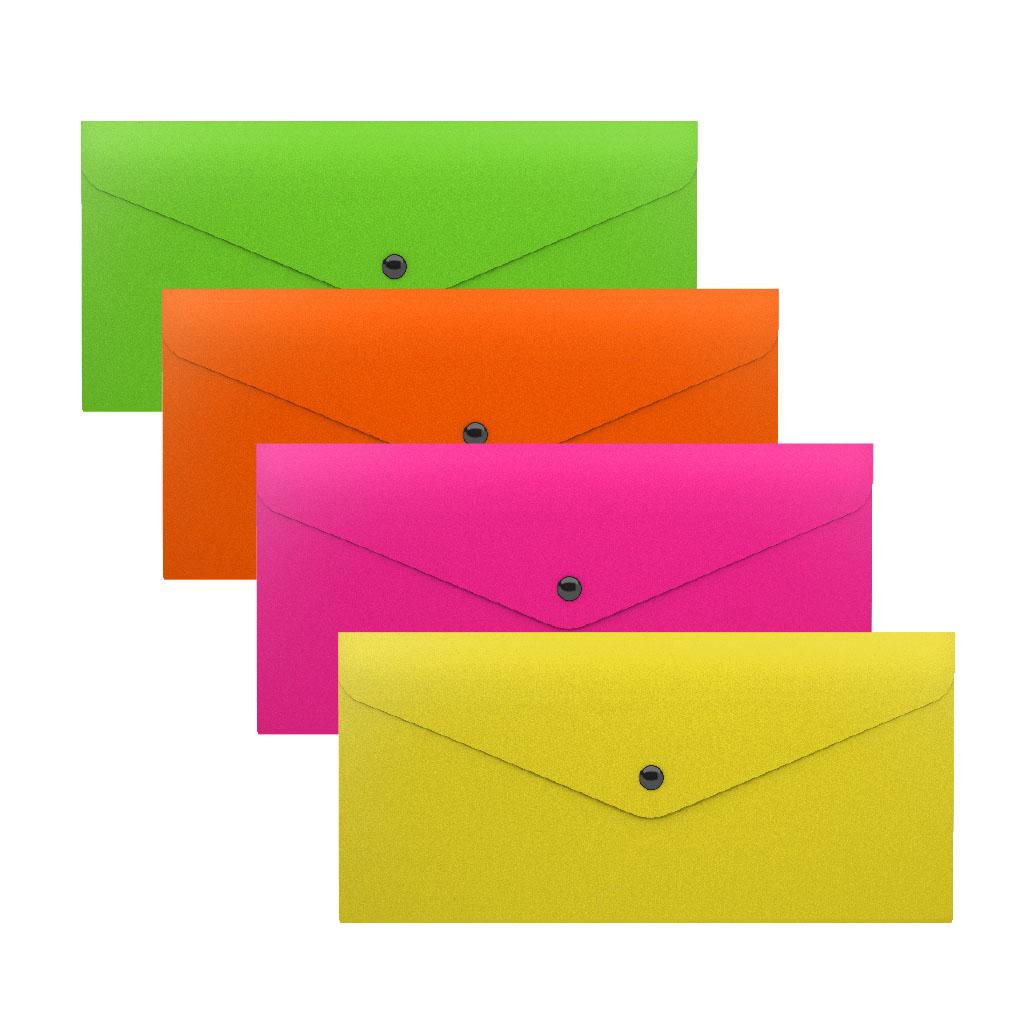 Папка конверт на кнопке ErichKrause 255*130 0,18мм Glossy Neon асорти
