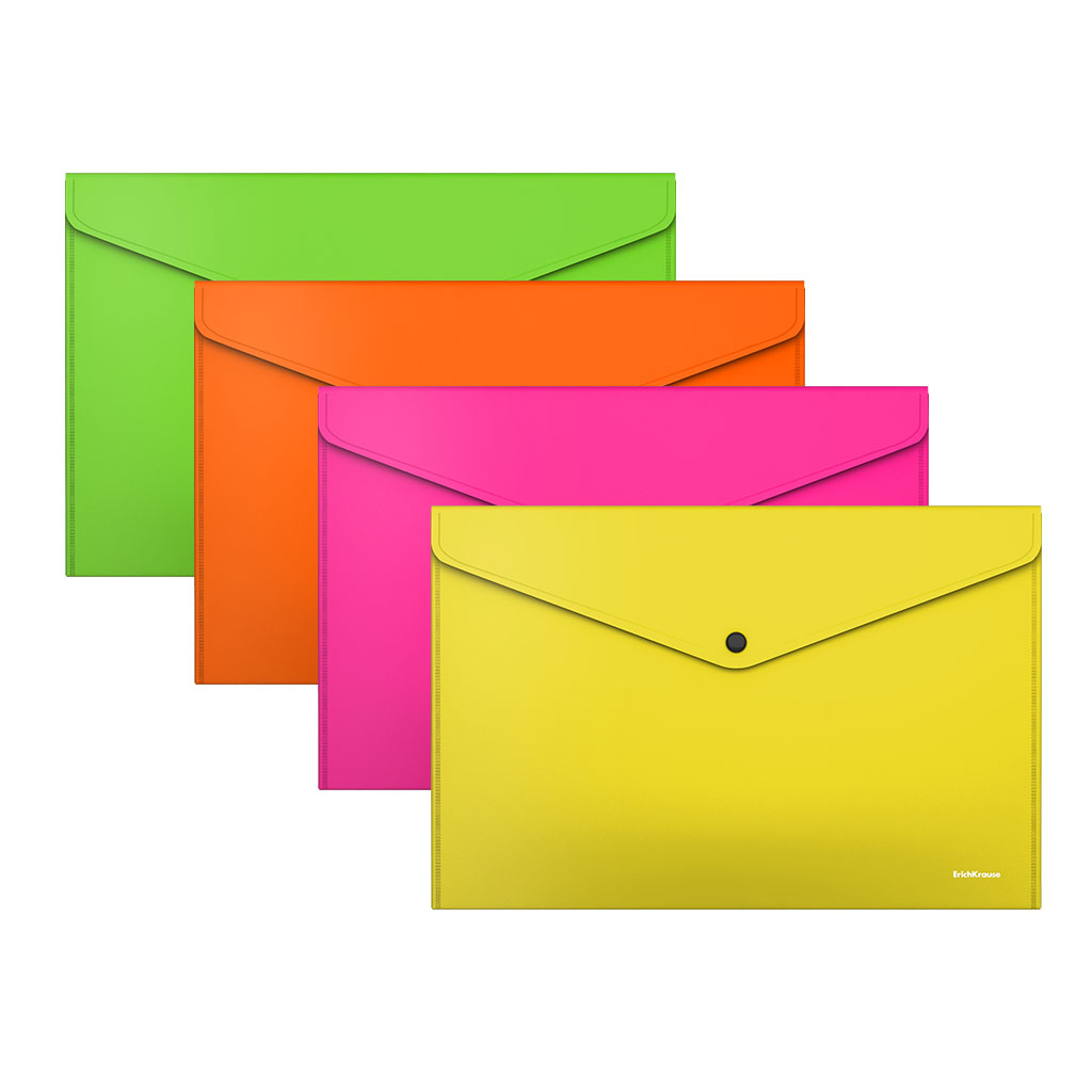Папка конверт на кнопке ErichKrause А4 0,18мм Glossy Neon асорти