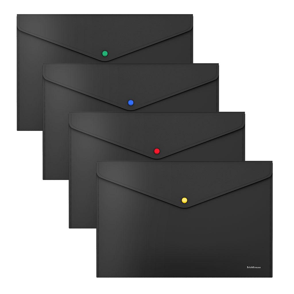 Папка конверт на кнопке ErichKrause А4 0,18мм Matt Black черная с цв.кнопкой
