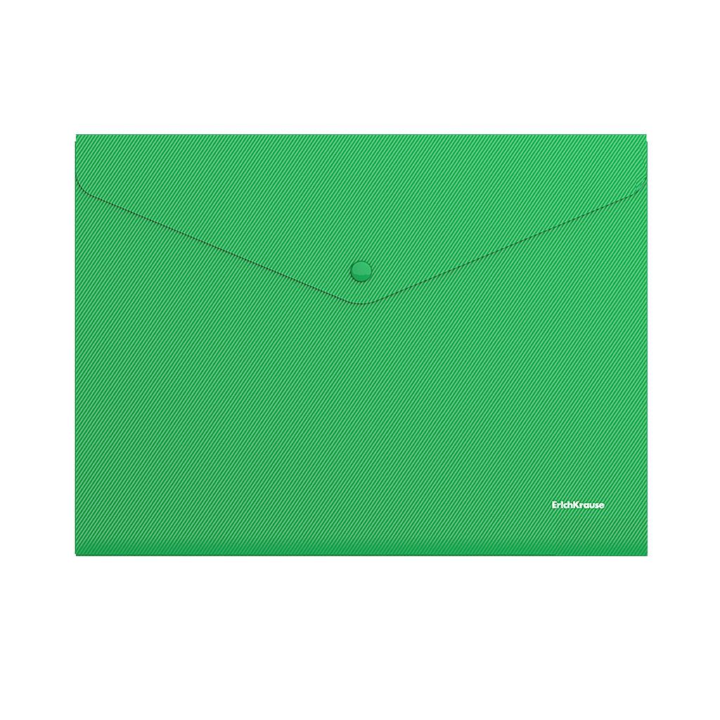 Папка конверт на кнопке ErichKrause А4 0,18мм непрозр. зеленая