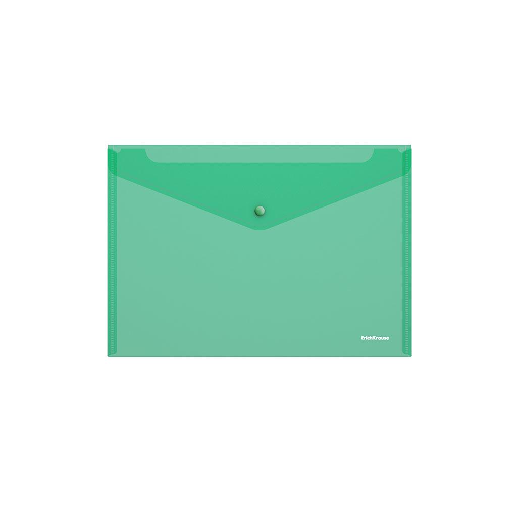 Папка конверт на кнопке ErichKrause А4 0,18мм прозр. зеленая