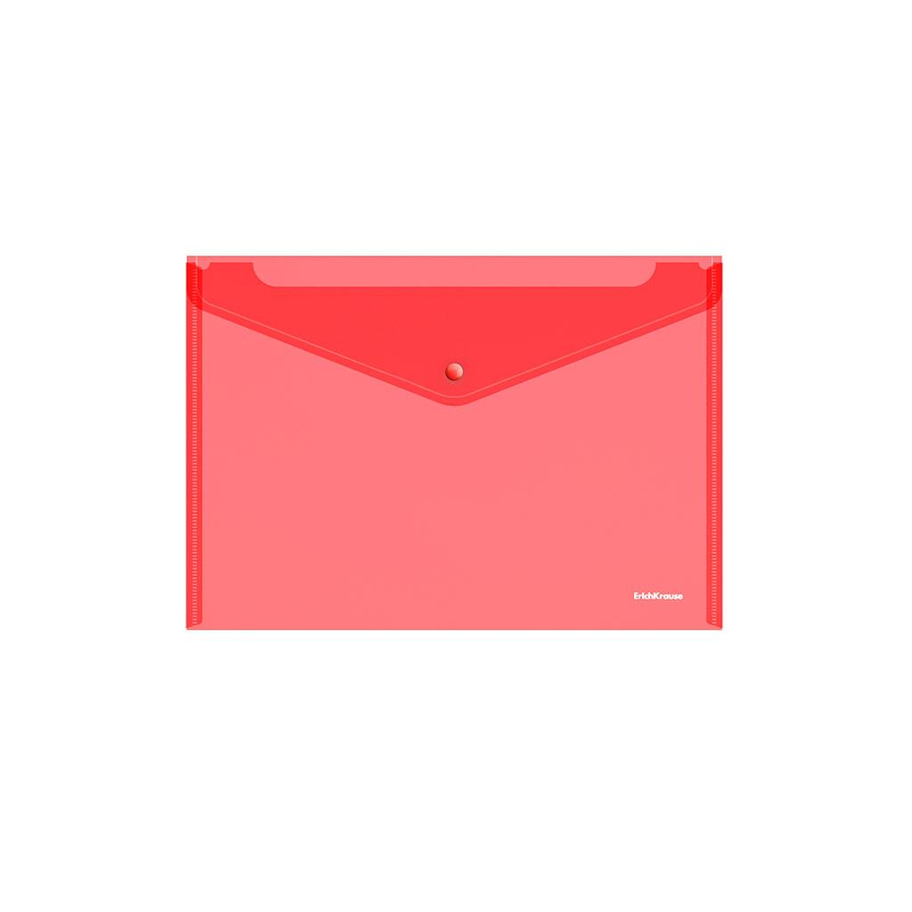 Папка конверт на кнопке ErichKrause А4 0,18мм прозр. красная