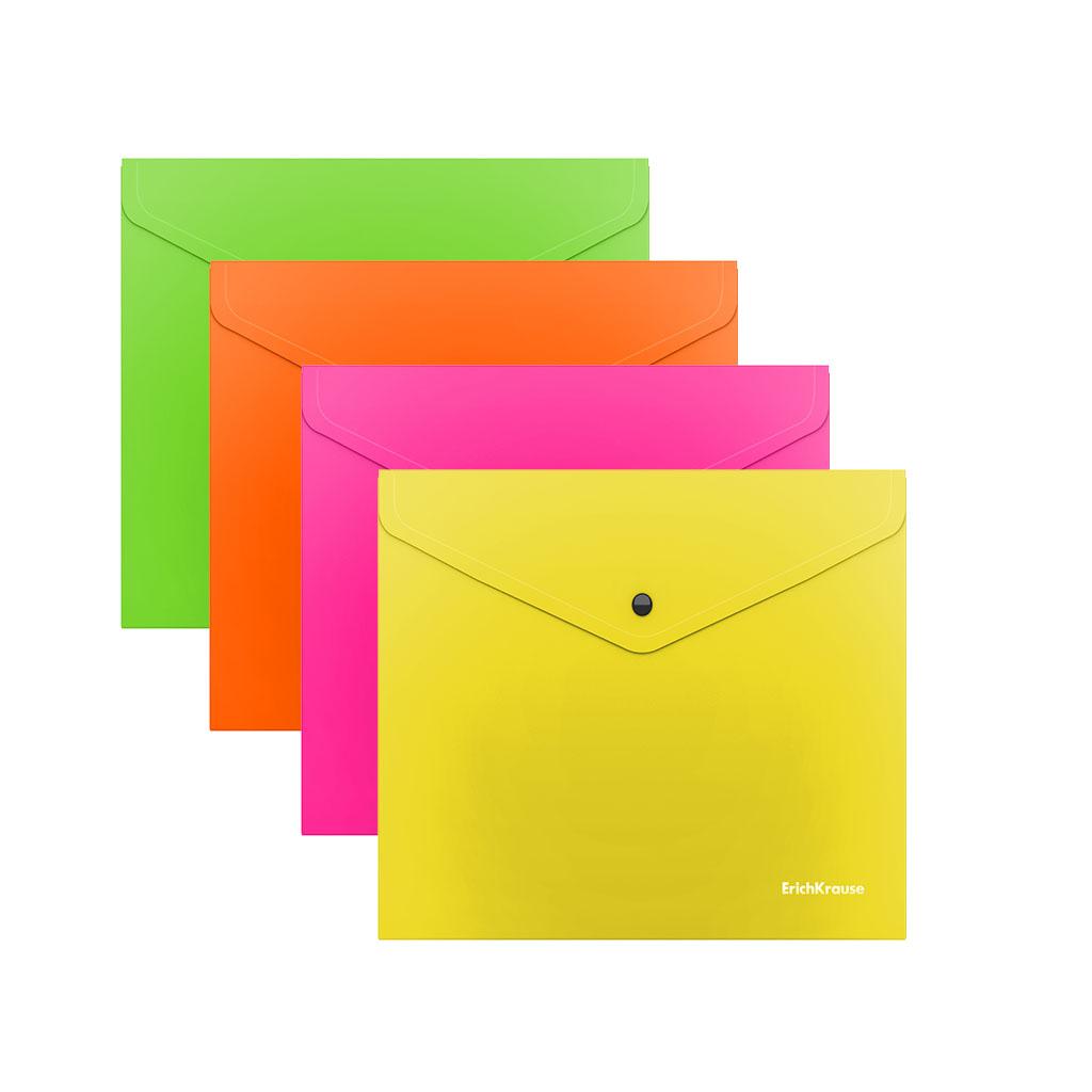 Папка конверт на кнопке ErichKrause С6 0,18мм Glossy Neon асорти