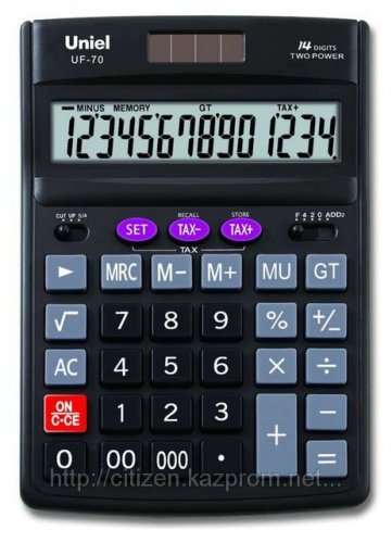 Калькулятор наст. Uniel UF-70 14-разр. 190*137мм