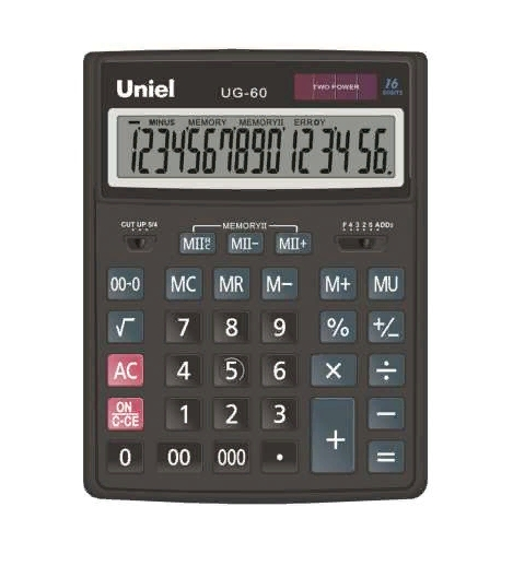 Калькулятор наст. Uniel UG-60 16-разр. 206*155мм
