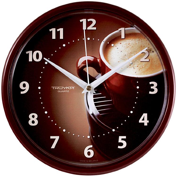 Часы настен. Troyka круглые бордовая рамка 23см