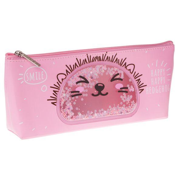 """Пенал мягкий Хатбер 205*85*35мм экокожа """"Smile"""" розовый с блесками"""