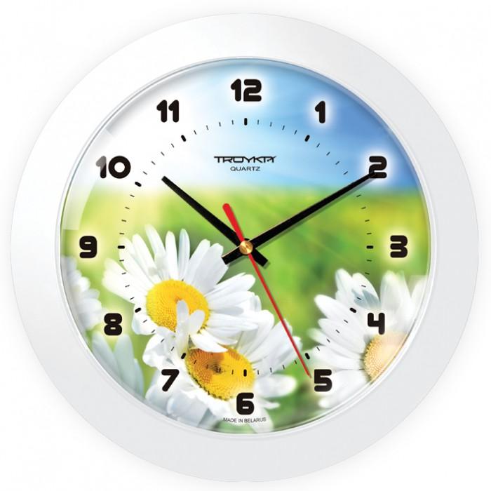 Часы настен. Troyka круглые белая рамка 30см ромашки