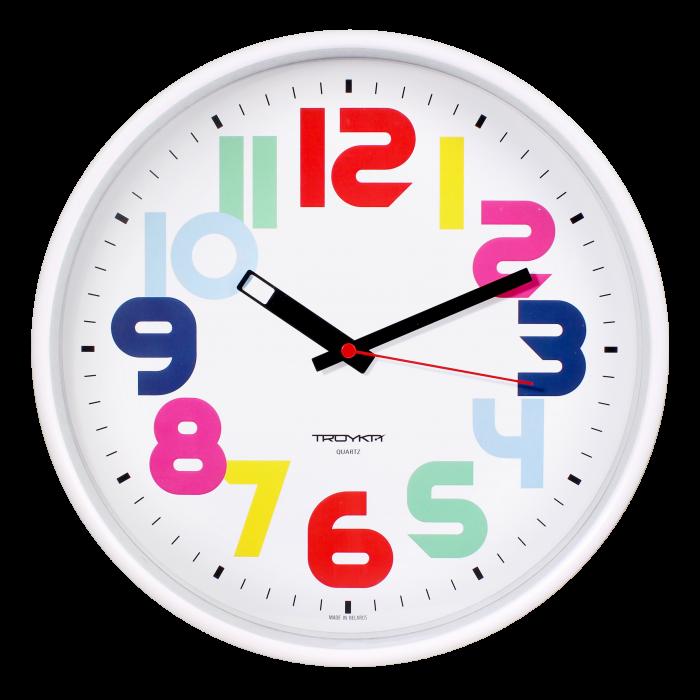 Часы настен. Troyka круглые белая рамка 30см цв. цифры