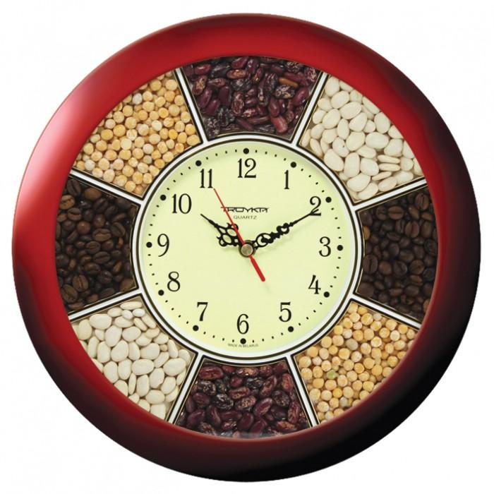 Часы настен. Troyka круглые бордовая рамка 29см
