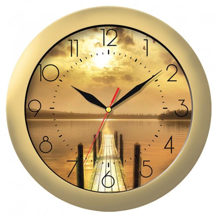 Часы настен. Troyka круглые золотистая рамка 29см цв. циферблат