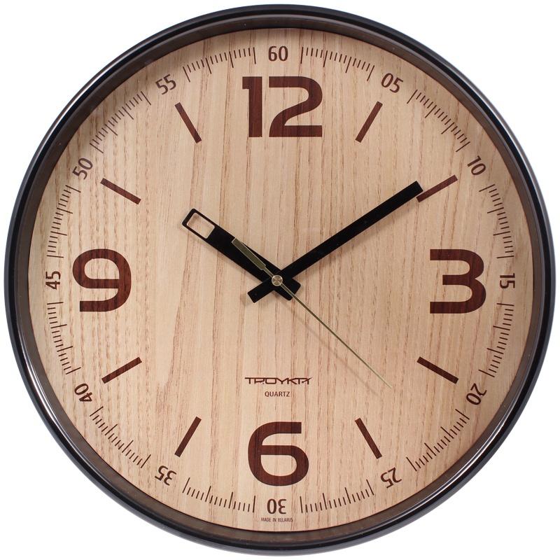 Часы настен. Troyka круглые коричневая рамка 30см