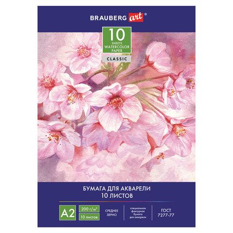 Папка для акварели А2 Brauberg 10л 200г/м2 Цветы