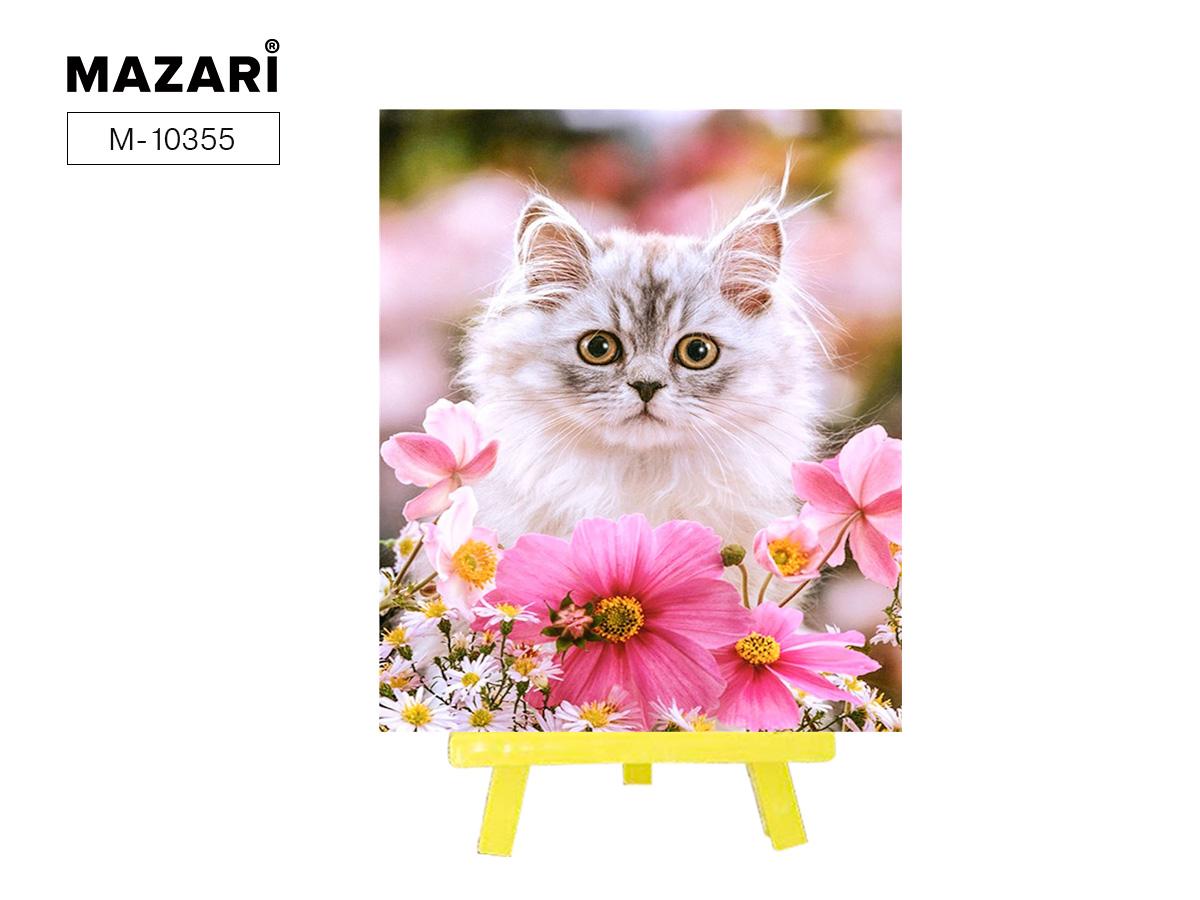 """Алмазная мозаика+мольберт 21*25см """"Кот в цветах"""" частичная выкладка"""